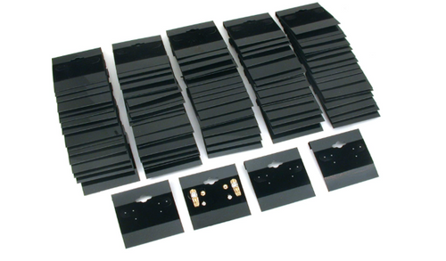 1 X Earring Display Hang Cards Black Flocked 2 X 2 Inch (100)