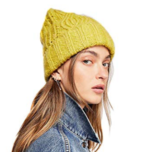 FREE PEOPLE Winter Hat HARLOW CABLE BEANIE (Chartreuse)