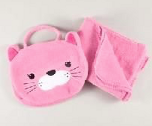 Cat Carrying Case  and Pink Blanket