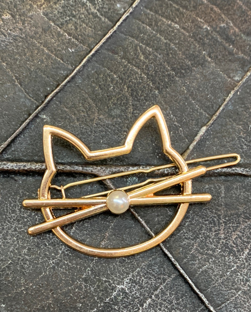 Cat Hair Clip with faux pearl- Gold