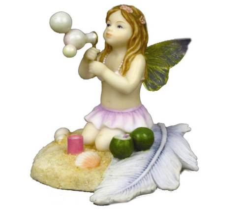 Little Girl Beach Fairy with Wings Blowing Bubbles Figurine