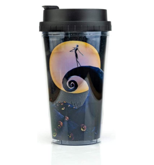 The Nightmare Before Christmas Double Walled Plastic Glitter Travel Tumbler