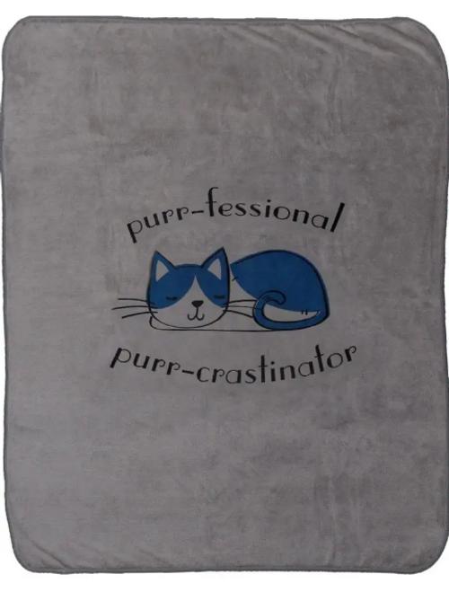 Green 3 Polar Fleece Blanket - Purr-crastinator