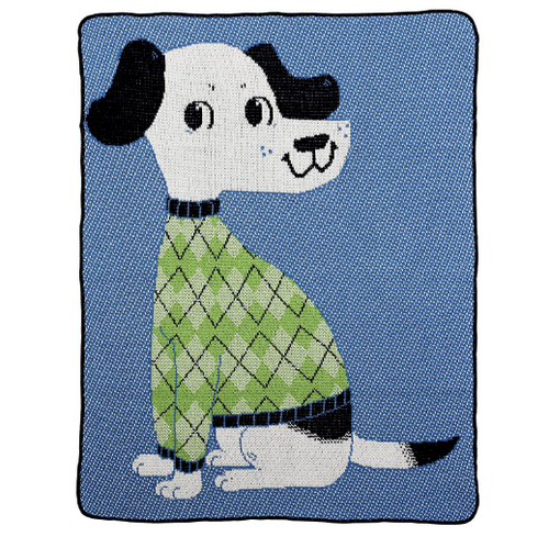 Green 3 Recycled Cotton Junior Throw Blanket Sweater Dog Blue/Green
