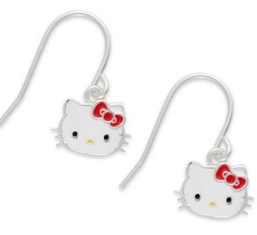 Hello Kitty Sterling Silver Enamel Drop Earrings With Bow