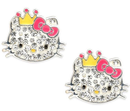 Hello Kitty Sterling silver Studs -Rhinestones