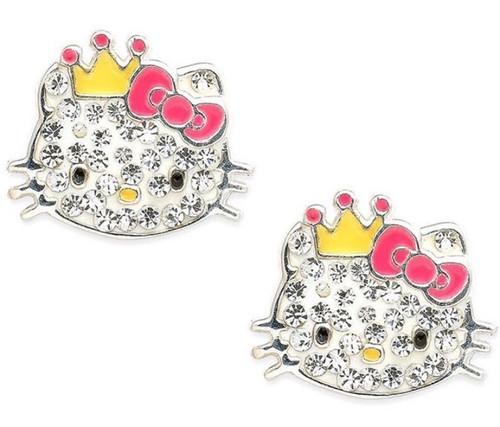 Hello Kitty Sterling silver Studs -Rhinestones