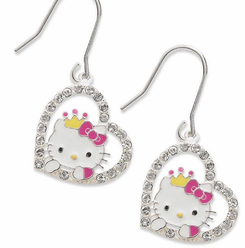 Hello Kitty Sterling Silver Drop Earrings Heart With Rhinestones