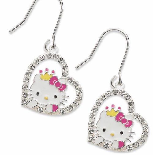 Hello Kitty Sterling Silver Drop Earrings Heart With Rhinestones