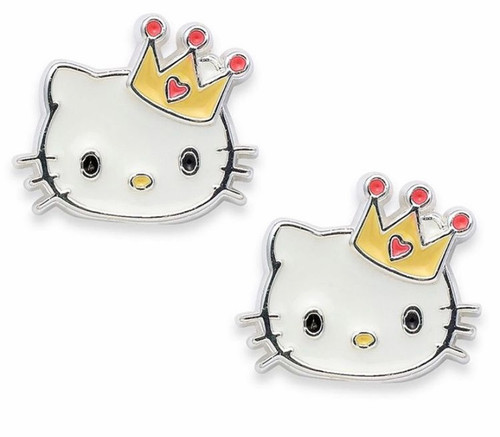 Hello Kitty Sterling silver Enamel Studs With Crown