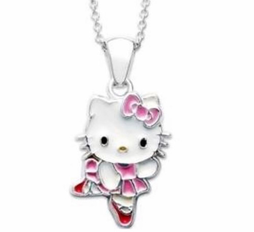 Hello Kitty Sterling Silver Enamel Ballerina Necklace