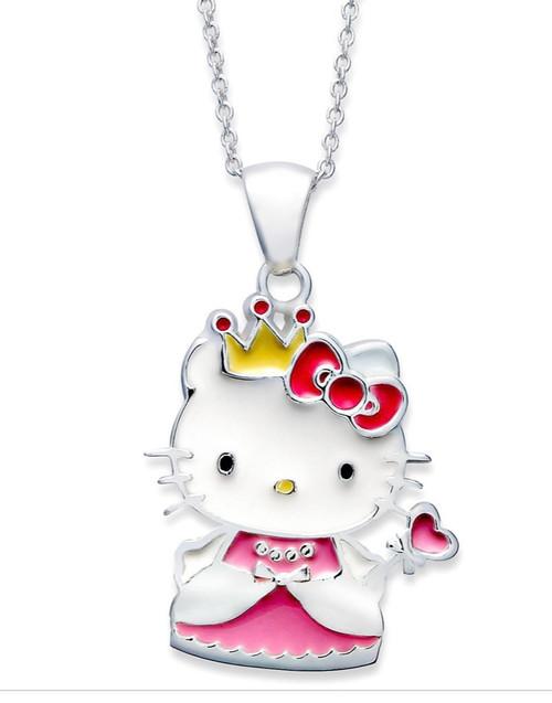 Hello Kitty Sterling Silver Enamel Princess Necklace