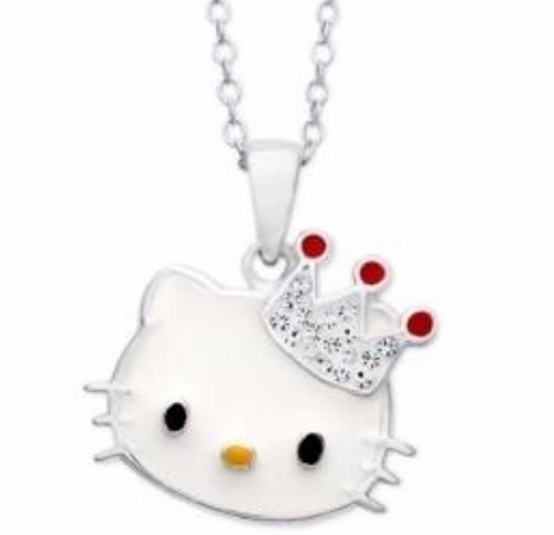 Hello Kitty Sterling Silver Enamel And Rhinestone  with Crown Necklace