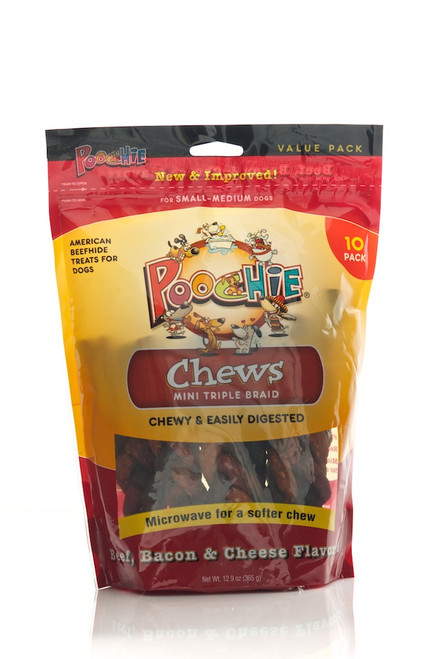 Poochie Mini Triple Braided Chews - Beef, Bacon & Cheese - 10 Pack - SPECIAL: Buy 12 Bags & get 13th  Bag FREE!  (Value of $12.99)