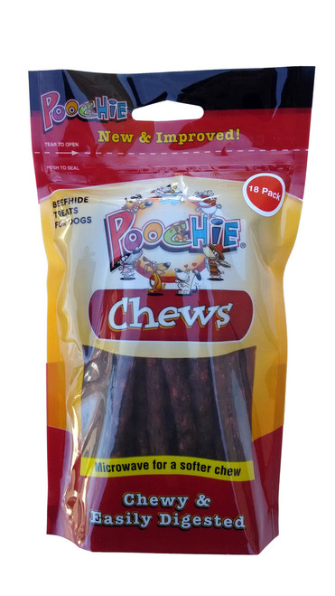 """Beef  Flavored  Chew Sticks  by  Poochie Dog Treats - approx 5"""" Long each - 18 Pack"""