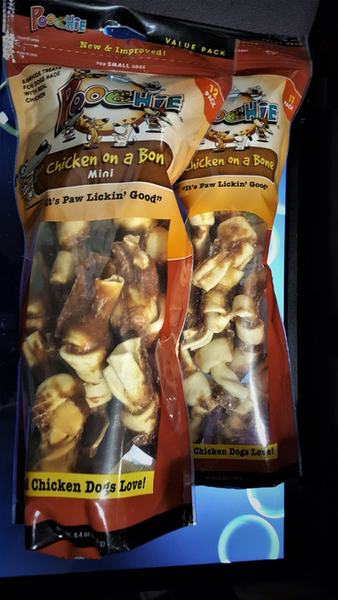 """Poochie """"CANISTER REFILL""""  Chicken On A Bone: Total of 23   Bones = 1 Bag of  11 Micro's  &  1 bag of 12 Mini's =1 Refill For Your Canister !"""