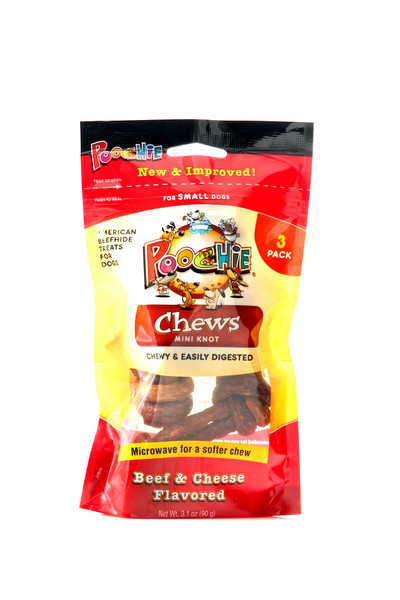 Beef  &  Cheese Mini   Knot  Chews by Poochie Dog Treats - 3 Pack  & PLEASE VIEW VIDEO  ON HOME PAGE TOP CENTER, VIEW INFORMATION ON BENEFITS OF POOCHIE DOG TREATS!!