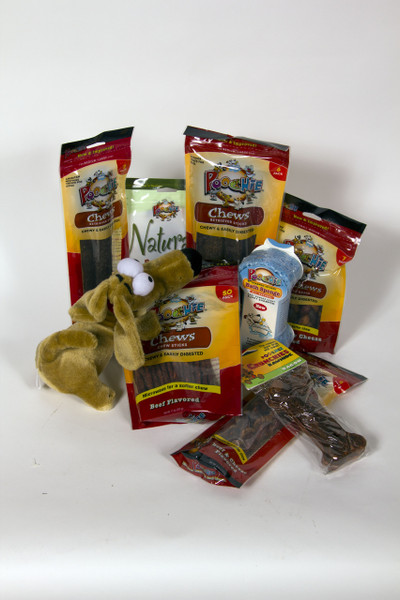 """Poochie """"Beef Lover's"""" Value Gift Bowl full of treats...no fillers... huge assortment of Poochie Dog Treats!"""