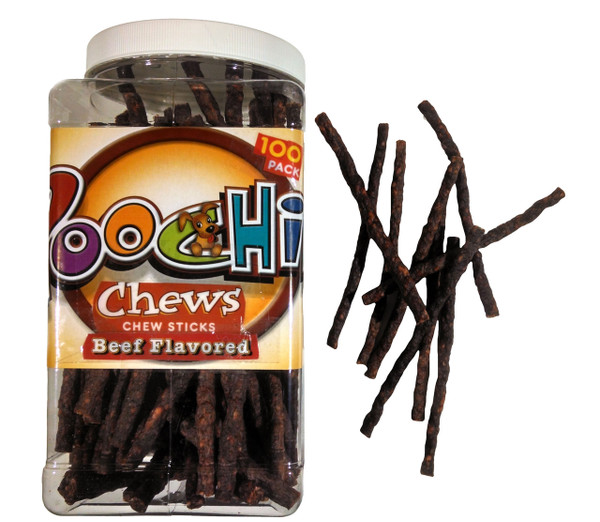 """Poochie Daily Chew 100 Count """"Beef Chew Sticks""""  Savings Canister  ****Please Note: Canister May Vary In Color & Shape- 100 Pack"""