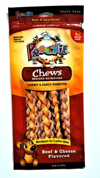 Poochie Braided Retriever Chews - Beef & Cheese - 5 Pack