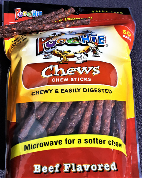 """Poochie Daily Chew  """"CANISTER REFILL""""  Beef Chewy Sticks- 100CT, Comes in  2 Bags of 50 Chew Sticks Each Bag"""