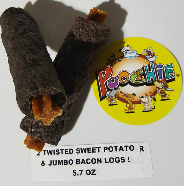 BACON LOGS STUFFED  WITH  SWEET POTATO TWIST (2Pk) Please View Video Message On Home Page Top Center of Promoting Dog's  Cleaner, White Teeth & Healthier Gums!