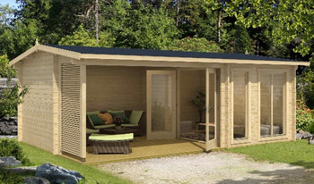 Torquay 44 - 5.75 x 3.7m - 44mm Log Cabin Hot Tub Enclosure - Under 2.5m