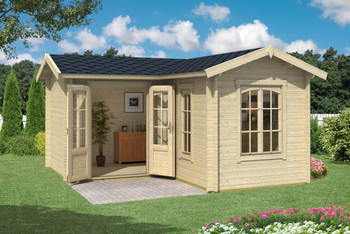The Portsmouth 44 Log Cabin from Lasita Maja is built with 44mm Logs.