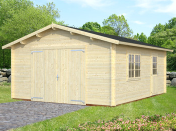 The Roger Garage 2 is built with 44mm logs and has optional standard gate doors or an up and over door. There also is a double window and single door at the side which can be positioned on either the right wall or the left wall on installation.