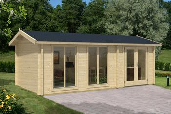 Shetland 2 6m x 3m cabin from Lasita Maja is built with 70mm Logs.