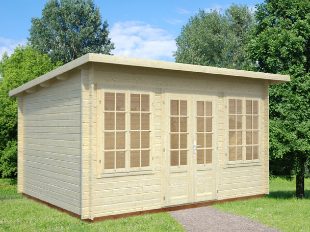 The Lisa 1 is a wonderful 34mm Log Cabin from Palmako is a perfect garden building with the double door entrance and two double windows either side.