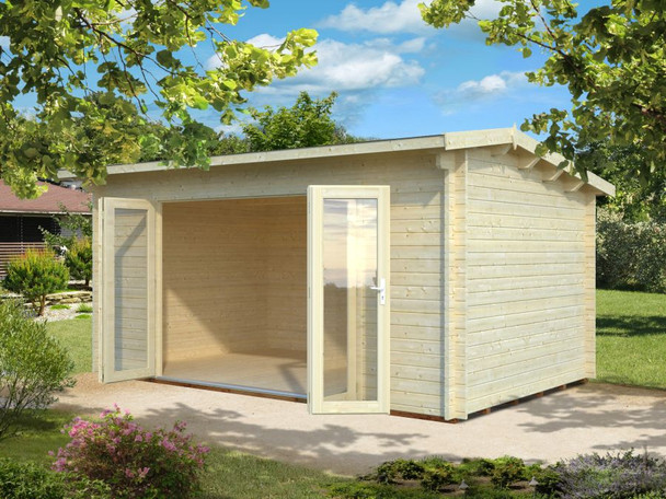 The Ines 2 Log Cabin from Palmako is made with 44mm logs and has a set of bi-fold doors that open up to make this building a great hot tub room, art studio or general summerhouse.