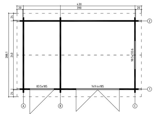 Floor Plan for the Wrexham 1 Log Cabin.