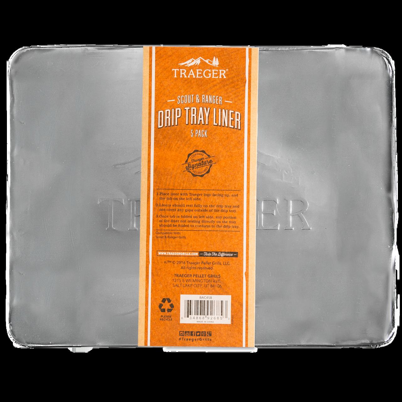 TRAEGER PELLET GRILLS BAC458 RANGER/SCOUT DRIP PANS 5 PACK