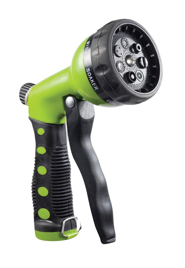 Water-Saving 7-Spray Garden Hose Nozzle, Green