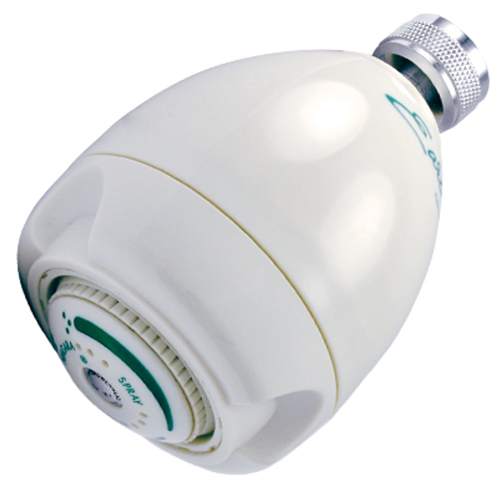 Earth® 3-Spray Showerhead, 1.25 GPM, White