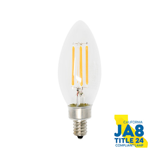 4-PACK Dimmable LED Vintage Filament Candelabra, 4W (40W equiv), 2700K