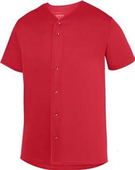 Augusta Men Button Up Baseball Jersey (Red 2XL)