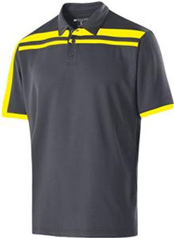 Holloway Adult 3 Button Charge Polos  (Carbon/Bright Yellow 2XL)