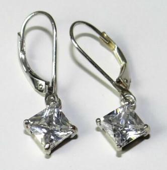 Sterling Silver Leverback Drop Earrings in Clear