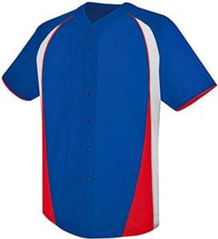 High Five Ace Full-Button Custom Baseball Jersey - Royal/Orange/White 2X