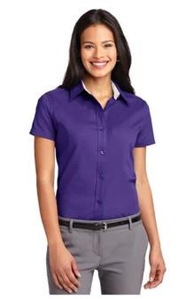 Port Authority L508 Women's Work Shirt Short-Sleeve Easy Care - Purple Ladies 3X