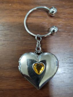 Shimmering Heart Birthstone Photo Keychain Locket November