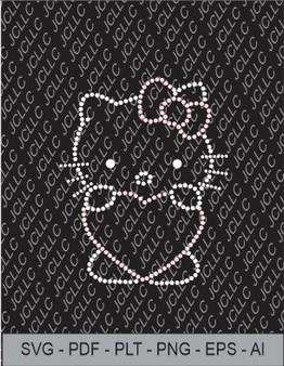 Rhinestone Template - Kitty