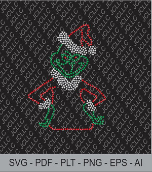 Rhinestone Template - Grinch in Santa Hat
