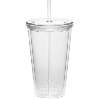16 oz. Double Wall Acrylic Tumblers With Straws