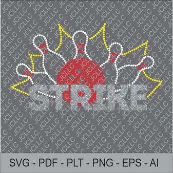 Rhinestone Template - Bowling Design 152
