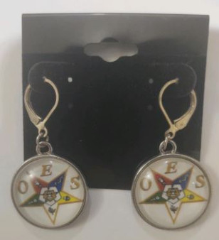 Order of the Eastern Star OES Round Dangle Earrings