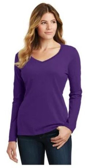 Port & Company LPC450VLS Ladies Long Sleeve Fan Favorite V-Neck T-Shirt