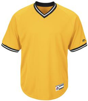 Adult Youth Cool Base V-Neck Baseball Jersey  (Gold XL)